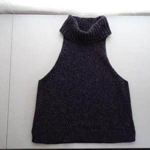 Madewell XL Cutaway Sweater Tank Turtleneck Blue